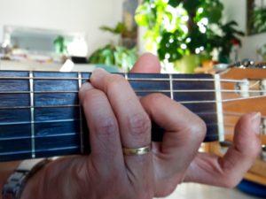 Accord de guitare Do majeur 7